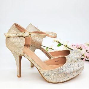 Champagne Platform Mid Heels
